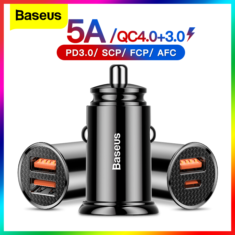 Baseus USB Car Charger Quick Charge 4.0 QC4.0 QC3.0 QC SCP 5A PD Type C 30W Fast Car USB Charger For iPhone Xiaomi Mobile Phone