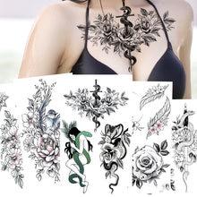 12 шт красивый черный цветок Змея 3d водостойкая временная татуировка