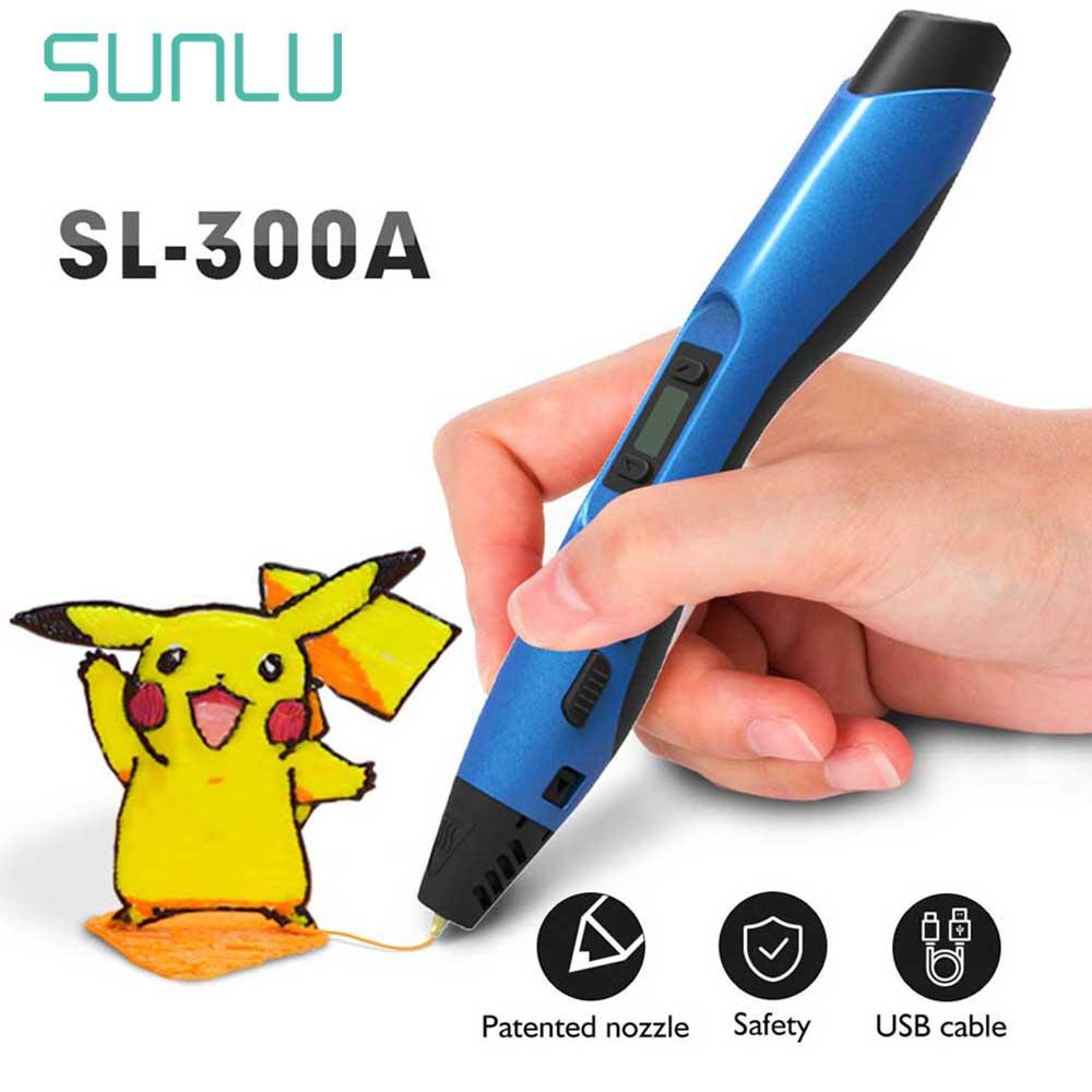 SL-300A 3D Pen Gift Box Set SUNLU 3D Printing Pen Support ABS/PCL/PLA Filament Refills Children Scribble Gadget