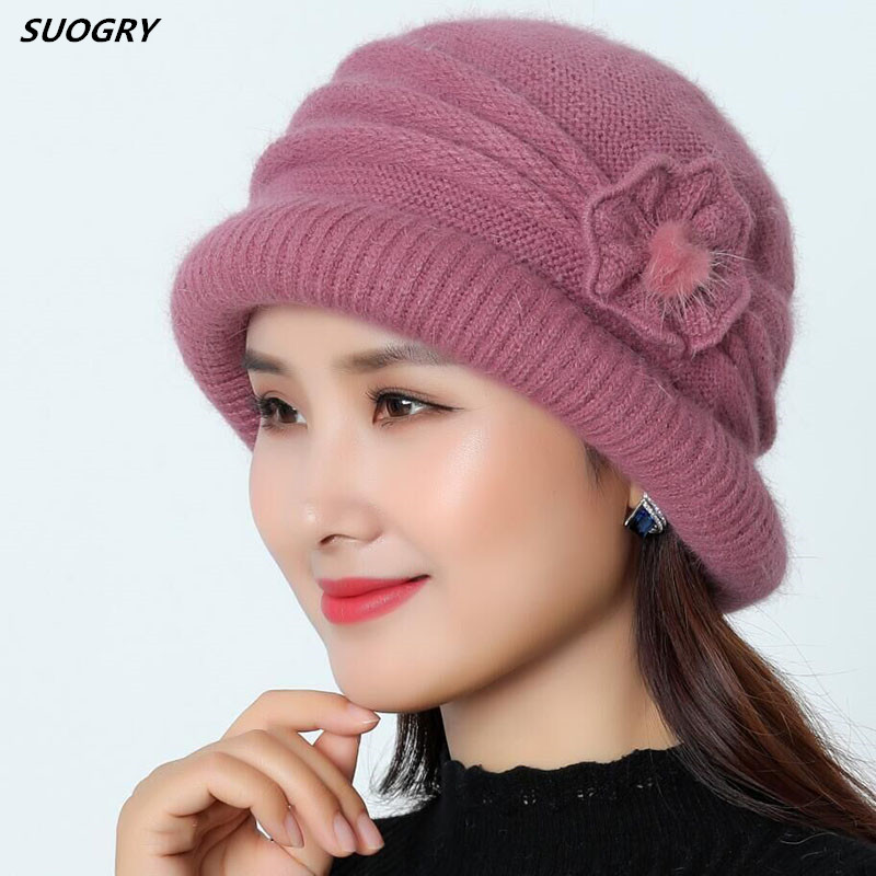 SUOGRY Hat Beanie Women Autumn Winter Warm Hat Cap Skullies Cap Female Ski Beanies Striped Bonnet Femme Knitted Hat Female