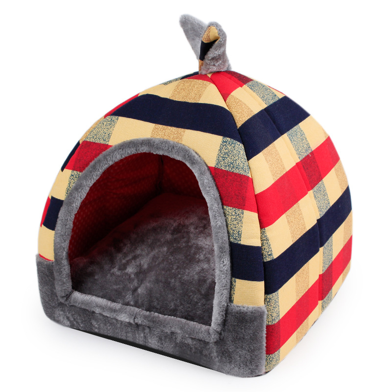 Winter Warm Dog Bed Cute Rabbit Ears Plaid Printed Pet Kennel Soft Cozy Fleece Mat Removable Mattress for Small Kitten Puppies