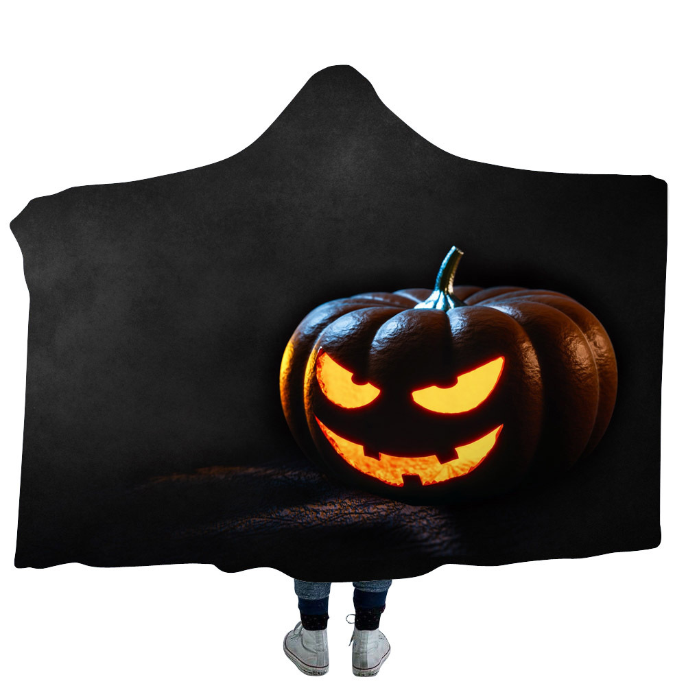 Halloween Hooded Blanket For Adults Childs Sherpa Fleece Blanket For Bed Winter Wearable Warm Throw Blanket For Home Travel Sofa in Blankets from Home Garden