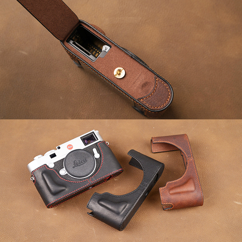 Case da Câmera de Couro Metade do Corpo Inferior para Leica Design da Bateria Genuíno Artesanal Bolsa Capa Aberto M10
