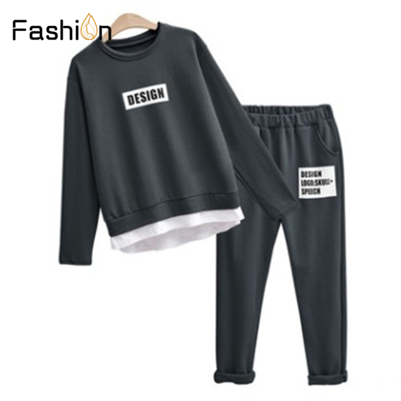 2019 Women Two Piece Set Sports Suits And Set Autumn Casual Sweatshirt Long Pants Hoodies Tops Clothing Sets Tracksuit Women