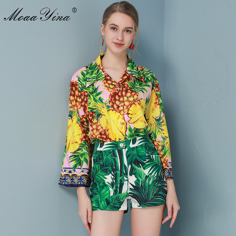 MoaaYina Fashion Designer Set Spring Summer Women Long Sleeve Pineapple Print Shirt Tops+Shorts Vacation Two-piece Set