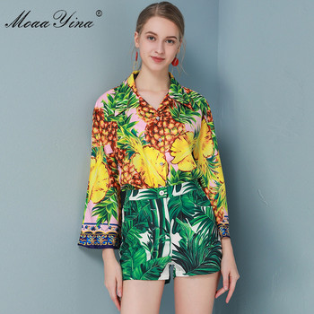 MoaaYina Fashion Designer Set Spring Summer Women Long sleeve Pineapple Print Shirt Tops+Shorts Vacation Two-piece set