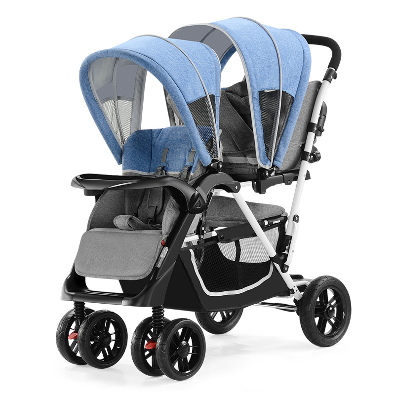 New Double Strollers for Twins Babies Folding Baby Pram Umbrella Car Front and Rear Lie Down Traveling Twin Stroller 0-6Y