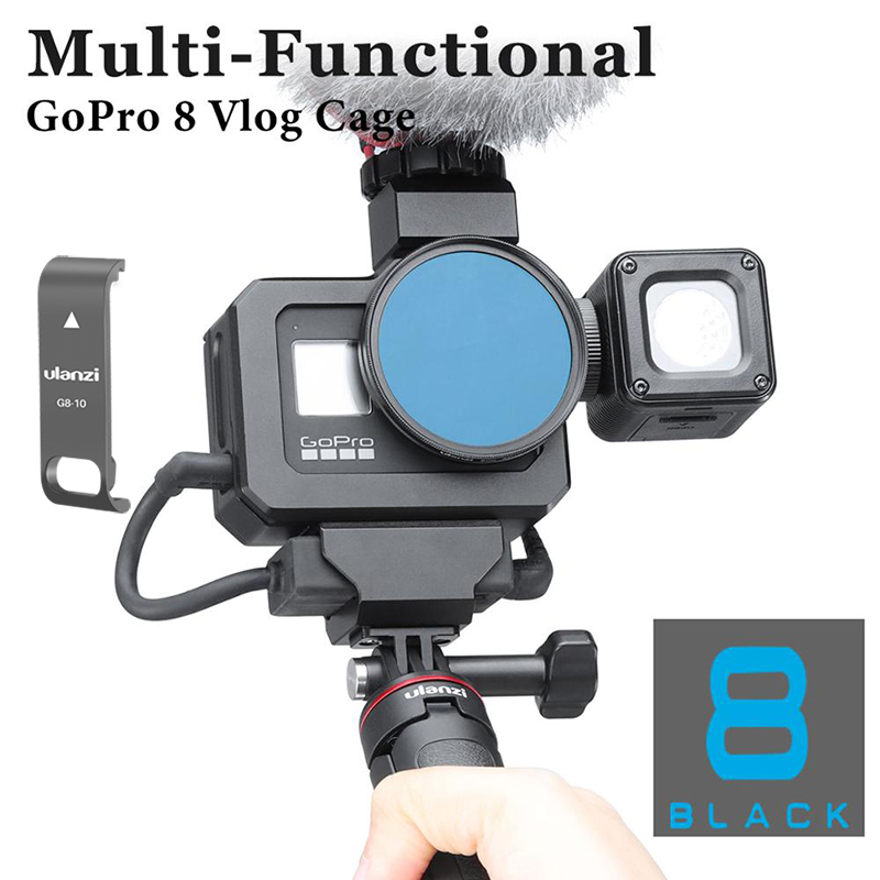 Ulanzi Metal Vlog Case Cage For Gopro Hero Black 8 Extend Cold Shoe Mount For Microphone LED Light