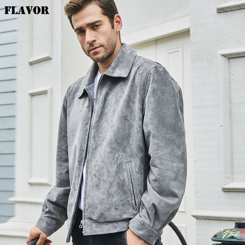 FLAVOR New Men's Real Leather Jacket Pigskin Leather Bomber Coat