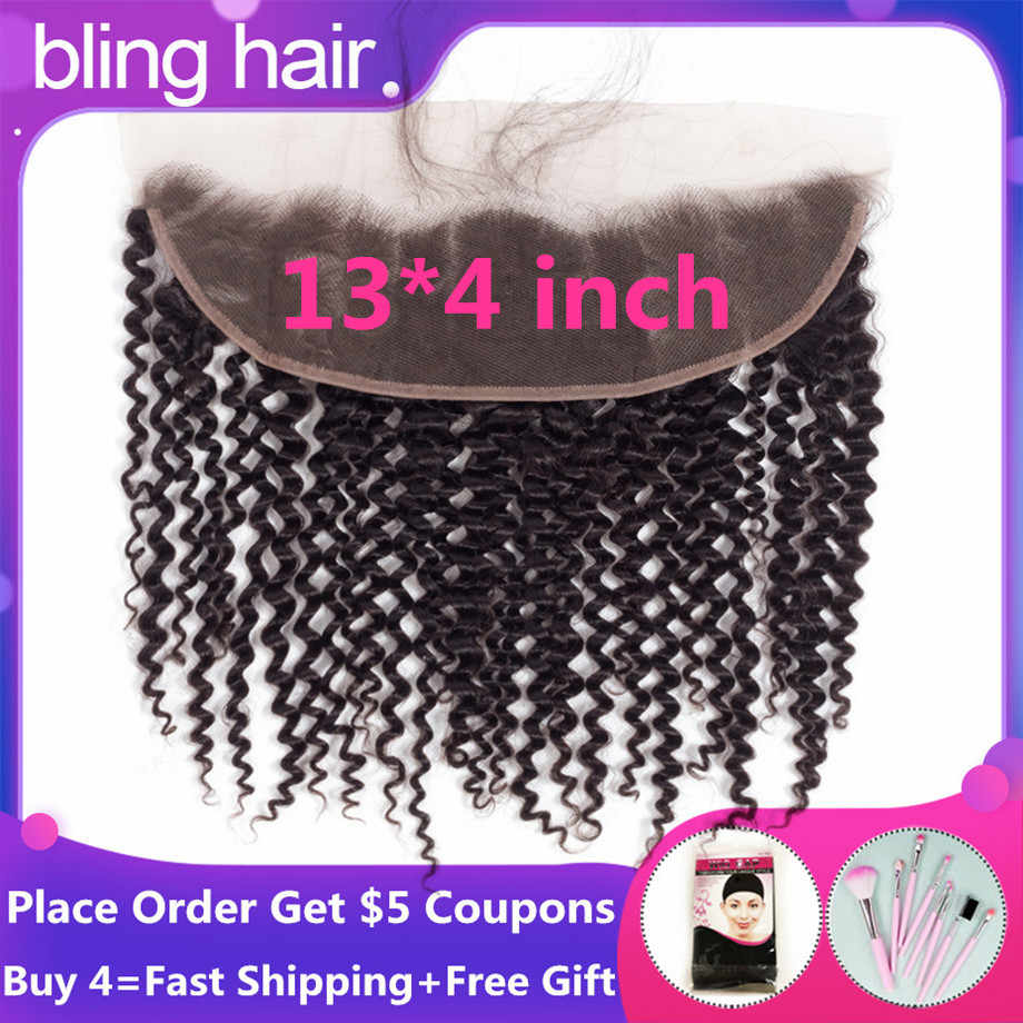 "Bling Hair 100% Remy Brazilian Kinky Curly Human Hair Lace Frontal Closure 13*4 With Baby Hair Nature Color 8""-22"" Free Shipping"