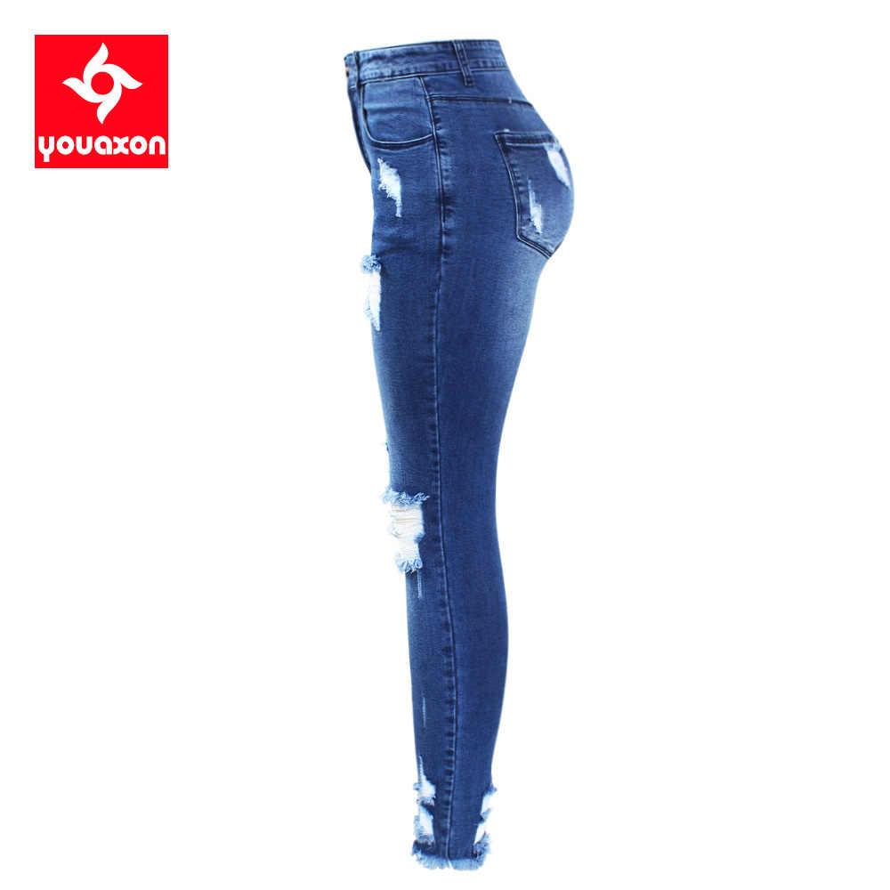 2127 Youaxon Nieuwe S-XXXXXL Ultra Rekbare Blauw Kwastje Gescheurde Jeans Vrouw Denim Broek Broek Voor Vrouwen Potlood Skinny Jeans