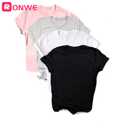 Summer Women White Black Pink Grey T shirt Girl Funny Harajuku Lady Solid Tops Tee Female Clothes