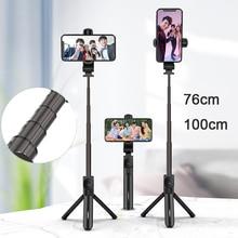 76cm 100cm liga de alumínio selfie vara tripé para iphone 12 samsung huawei xiaomi câmera selfie obturador monopod