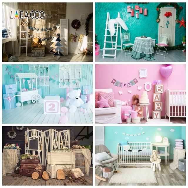 Laeacco 2nd Birthday Photophone Cart Candy Bar Gifts Bear Photography Backdrops Baby Portrait Photo Backgrounds Photozone Props