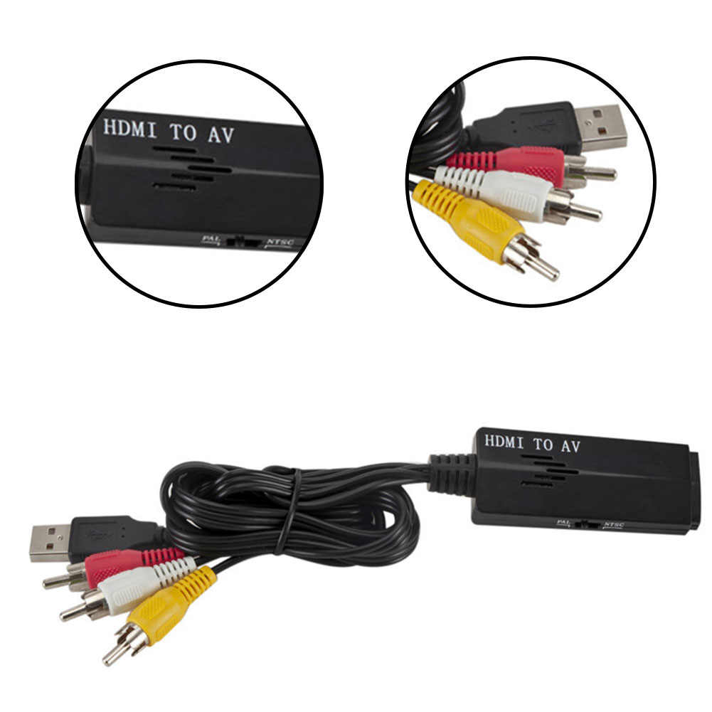 HDMI to RCA Signal Converter Black Displayer USB 720p//1080p Portable Composite Video Audio AV CVBS Adapter Converter Suitable for HD Camera Earphone HD DVD Projection