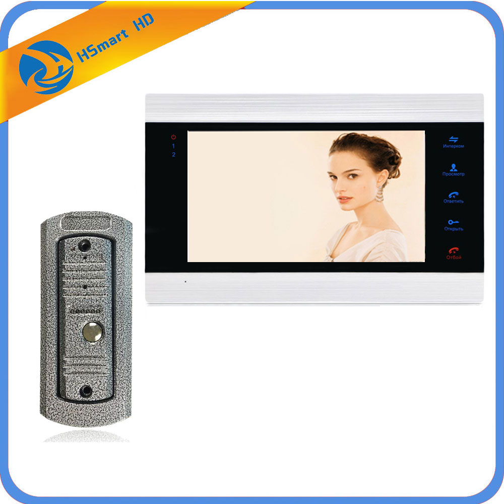 New Touch Key 7 Inch Video Doorbell Monitor Intercom With Metal Outdoor Camera IP65 Door Phone Intercom System