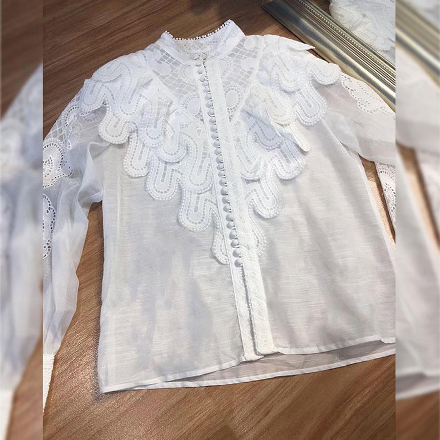 2019 haute qualité femmes Blouse chemise lanterne manches à volants Style évider Blouse chemise haut pour femme broderie Blouse petit haut - 5