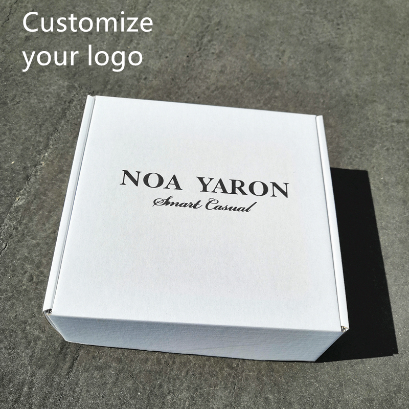 100/Batch Customized White Square Corrugated Carton Printed Trademark Delivery Mailbox Packing Polo T-shirt Underclothes Packing
