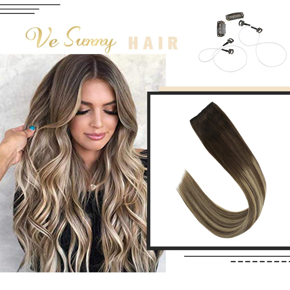 VeSunny Invisible Halo Hair Extensions Real Human Hair Flip In Wire With 2 Clips On Balayage Brown Blonde Highlights #3/8/24