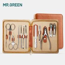 Маникюрный набор MR.GREEN 12 в 1, нержавеющая машинка для стрижки ногтей, универсальная машинка для кутикулы, набор для ухода за ногтями, набор для стрижки ногтей