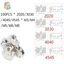Porca de entalho em níquel, conector m3 m4 m5 m6 m8 cabeça de martelo, porca de aperto, para 20 perfil de extrusão de alumínio da ue 30 40 45