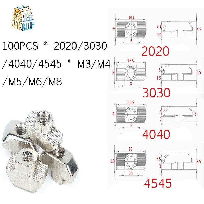 T-porca m3 m4 m5 m6 m8 cabeça de martelo t porca prender slot porca conector niquelado para 20 30 40 45 ue perfil de alumínio extrusão