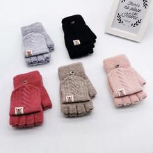 Zimowe dziecięce rękawiczki dziecięce dziecięce zimowe ciepłe dzianiny cabrio Flip Top rękawiczki bez palców rękawiczki ciepłe rękawiczki tanie tanio ISHOWTIENDA Dla dorosłych CN (pochodzenie) Unisex COTTON Stałe Nadgarstek Moda Gloves