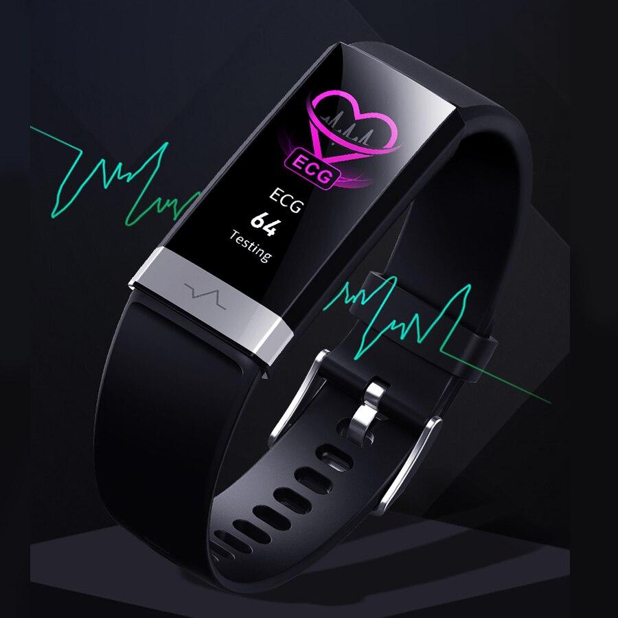 2019 Bracelet de moniteur de fréquence cardiaque de Bracelet de poignet de tension artérielle ECG PPG HRV montre intelligente avec le Bracelet d'affichage d'électrocardiogramme nouveau