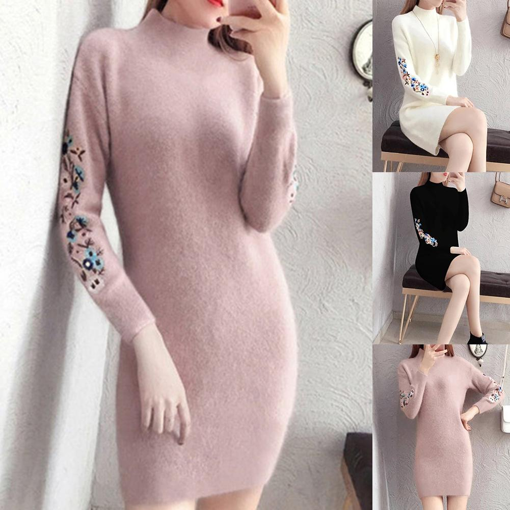 Women Party Sexy Knitted Dress Casual Floral Embroidery Long Sleeve O Neck Knit Warm Mini Dress Winter Plush Dress Xmas Gifts