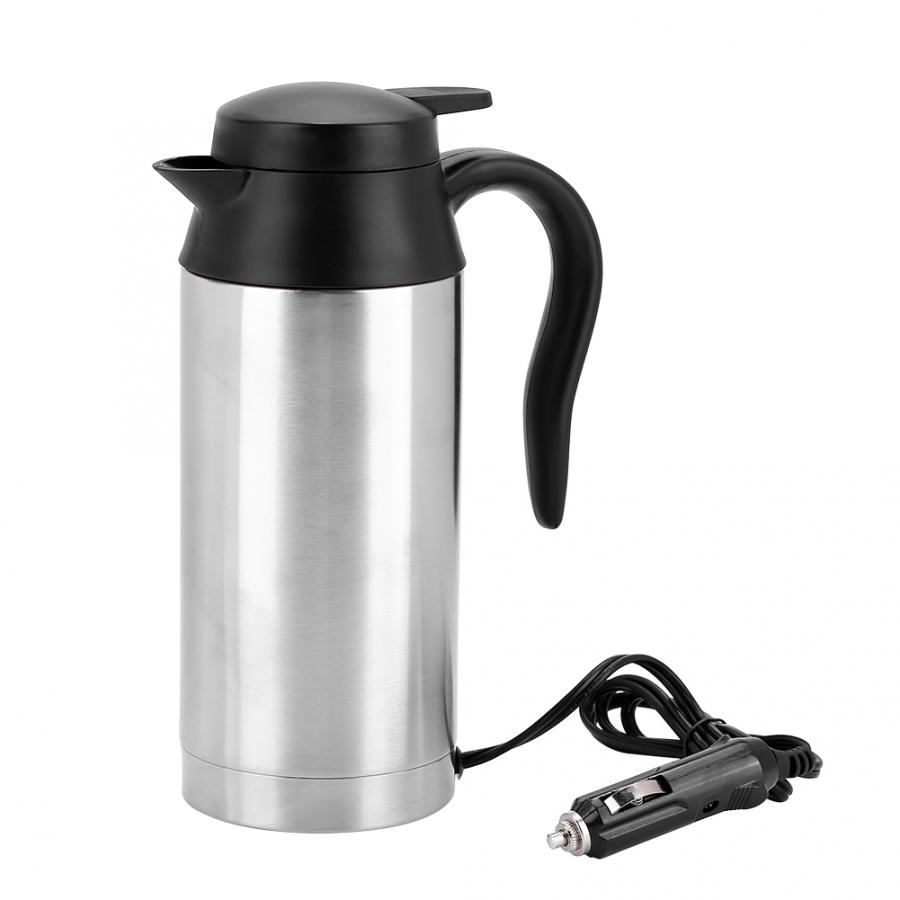 240W 750ml 24V Electric Heating Cup Kettle Stainless Steel Water Heater Bottle for Tea Coffee Drinking Travel Car Truck Kettle