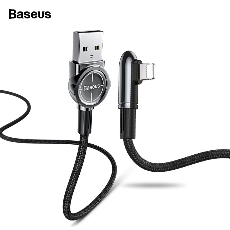 Baseus USB Cable For iPhone XS Max XR X 8 7 6 6S SE iPad 90 Degree 2.4A Fast Charging Charger Wire Cord Data Mobile Phone Cable|Mobile Phone Cables| |  - AliExpress