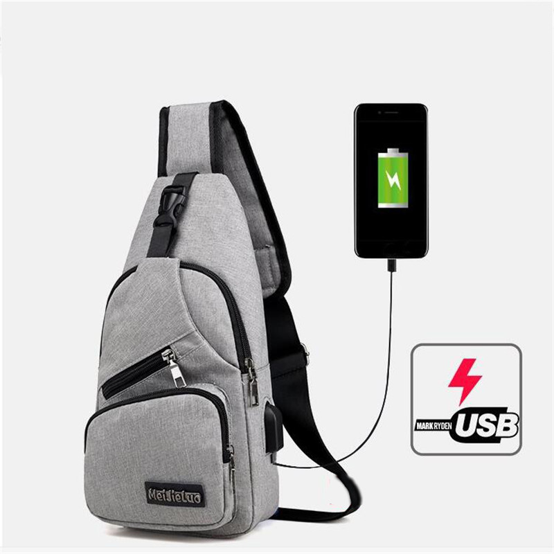 Men Messengers Bag Male Shoulder Bag USB Charging Crossbody Bags Men Anti Theft Chest Packs School Short Trip Bag