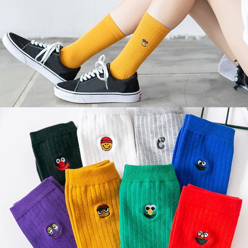 EUR Size 36-40 Cute Socks Women Kawaii Pure Cotton Girls Crew Women Socks Bright Colors 1 Pair