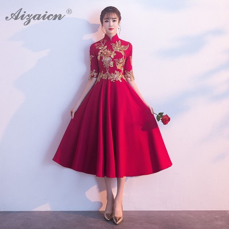 Red Bride Marry Vintage Gown Qi Pao Women Traditional Chinese Wedding Dress Qipao Promotion Embroidery Cheongsam Dresses Robe