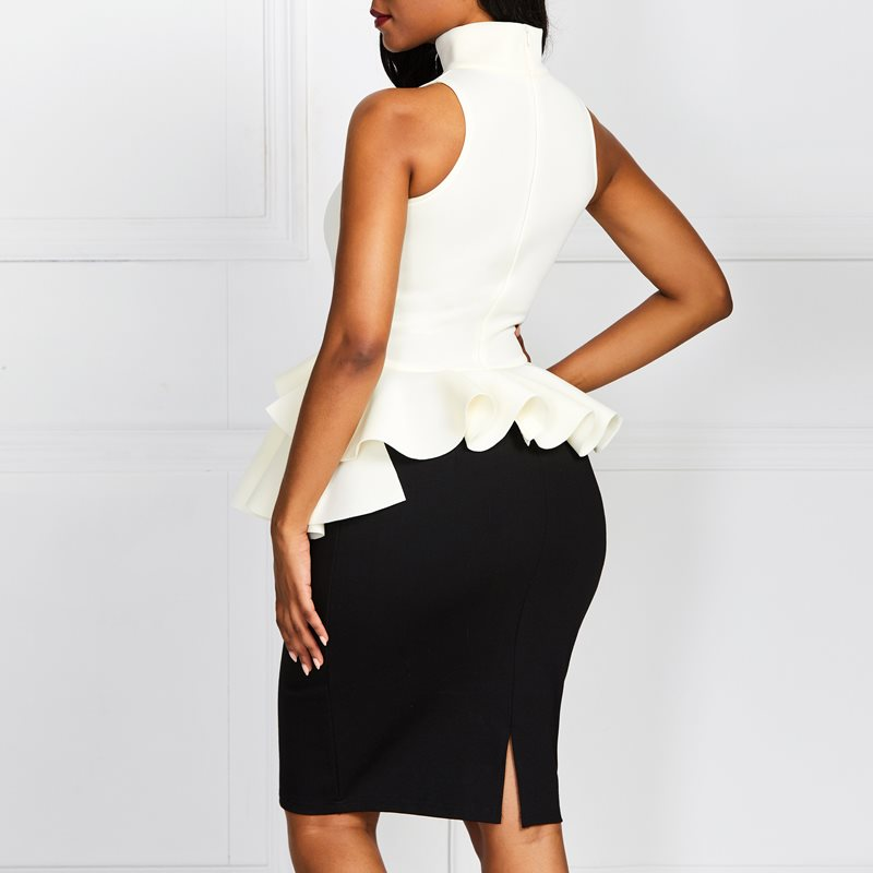 African Women Ruffle Sexy Boss Tops 2019 Best Selling Sleeveless Tank Top Office Lady Elegant Female Petal Clothes in Tank Tops from Women 39 s Clothing