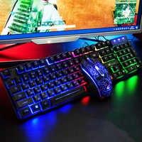 Teclado ruso + inglés a prueba de agua, juego de ratón y teclado para juegos con cable, teclado para ordenador con retroiluminación Arco Iris, teclado RU + EN