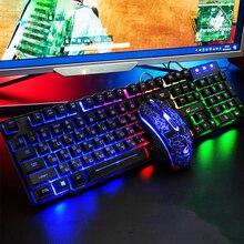 防水ロシア + 英語キーボード有線ゲーミングマウスとキーボードのセット虹バックライト gamger コンピュータキーボード ru + en キーボード