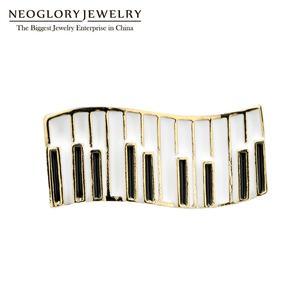 Neoglory biżuteria klawiatura pianina emalia broszki miłośników muzyki odznaka małe Cartoon Instrument muzyczny Lapel pins prezent dla przyjaciół