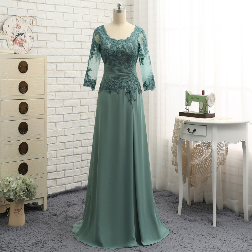 Plus Size Green 2019 Mother Of The Bride Dresses A-line Scoop Neck Half Sleeve Ruffle Chiffon And Lace Wedding Party Dress