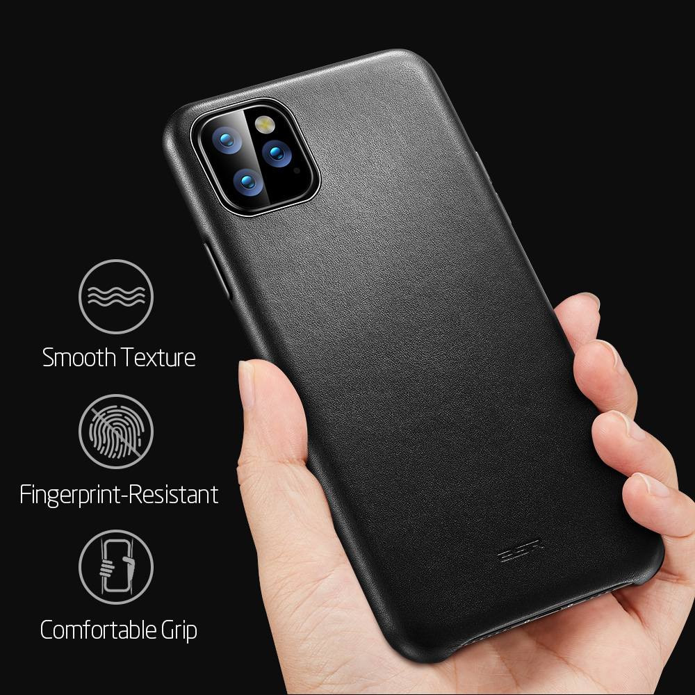 H68223a09452b469fb1a53ffed66aebb3O ESR Case for iPhone 11 Pro Max Leather Case Cover Brand Black Green Genuine Leather Protective Cover for iPhone 11 2019 11pro