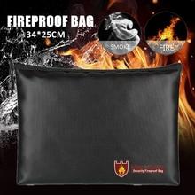 Fireproof Document Bag Money Jewelry Passport Safe Box Secret File Protect Pouch Liquid Silicone Fiberglass Cloth Document Bag