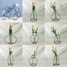 Flowers-Vase Iron-Line Garden-Decor Metal-Plant-Holder Art-Style Retro Home-Art Creative