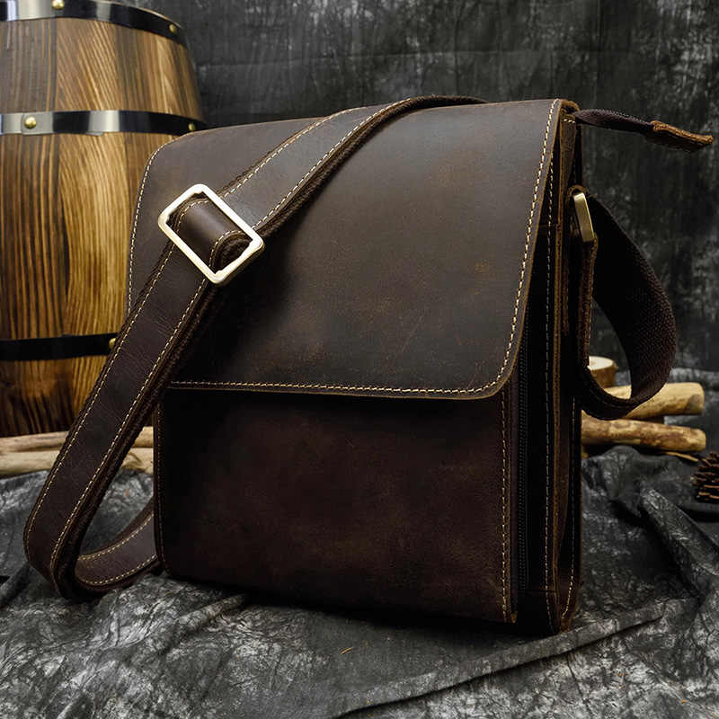 Mannen Vintage Crazy Horse Lederen Tas Ipad Koe Lederen Schoudertas Zip Rond Casual Crossbody Bag Koeienhuid Briefcase Purse