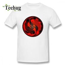 купить Men's Fashion Red And Black Yin Yang Koi Fish Tee Men Funny 3D Print For Boy Pure Cotton Homme Tee Shirt Luck T Shirt дешево