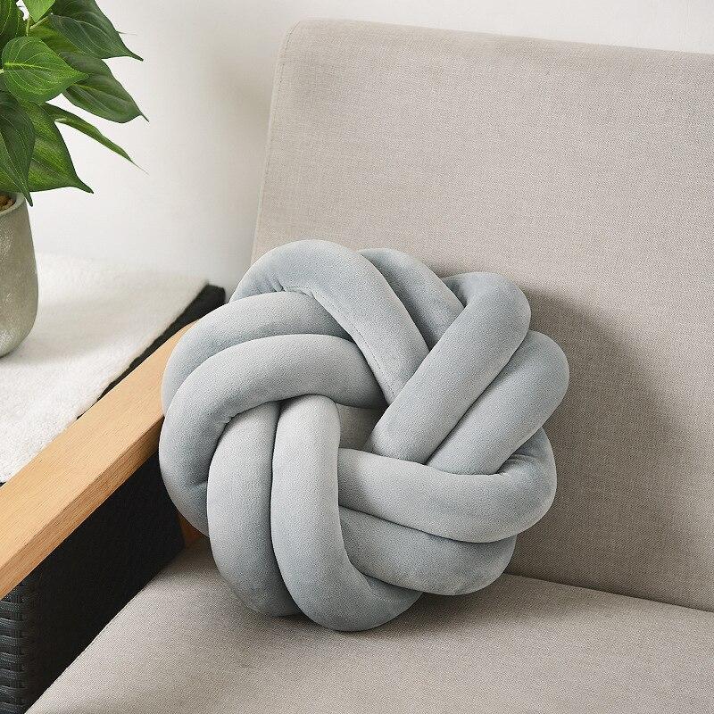 Cojín nórdico tejido a mano, colchoneta de anillo suave y cómoda, almohada de nudo esférico, cojín para sofá, silla, accesorios de fotografía, decoración del hogar