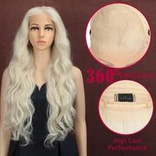 Magic 28 Inch Hand Tied 360 Light White Color Free Part Futura Fiber Hair
