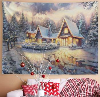 Winter Snow Classic Scene Tapestry Christmas Decor Snow Night Town