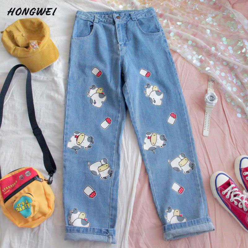 Korean Newest Harajuku Jeans Pants Women Streetwear Kawaii Cartoon Trousers Cute Cow Prints Straight Denim Trousers