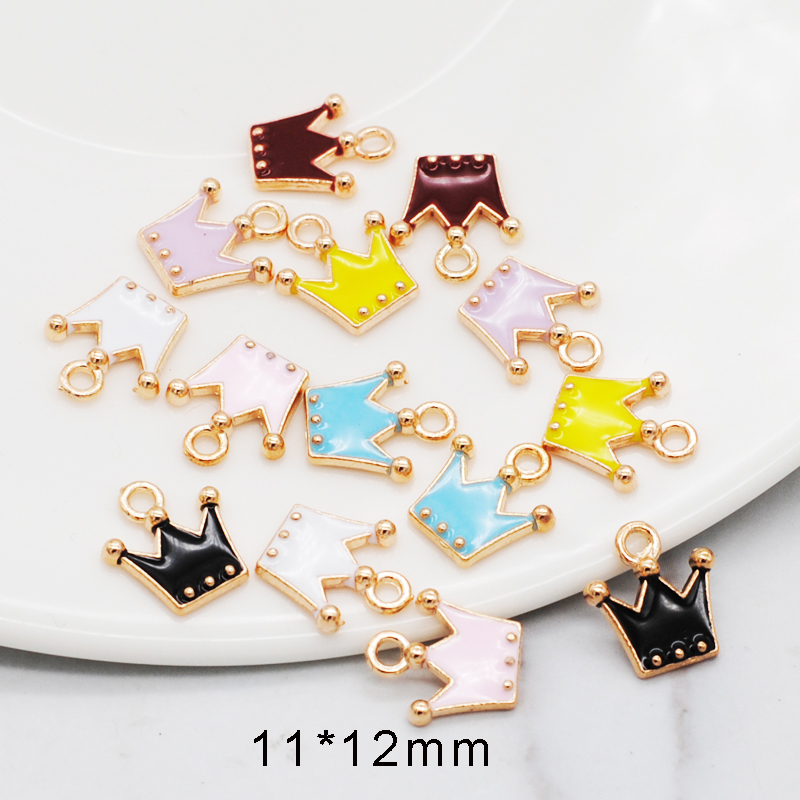 30pcs/pack 11*12mm Gold Color Tone Charm Pendants Alloy Metal Enamel Charms For DIY Jewelry Making 1