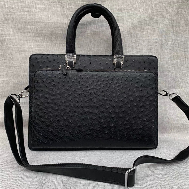 Business Style Authentic Real Ostrich Skin Men's Large Briefcase Laptop Purse Bag Genuine Leather Male Working Portfolio Handbag